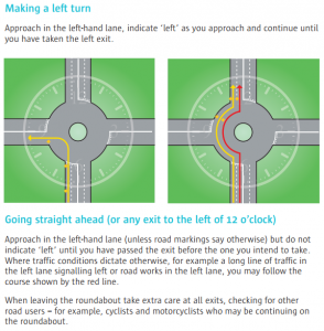 Taking the left turn or going straight ahead on a roundabout - how to indicate correctly!