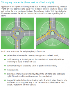 Taking turns past 12 o' Clock position in relation to your starting point on a roundabout - how to indicate correctly!
