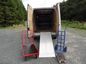 Large Van, Ramp, 3 Types of Trolley and Ratchet Straps for Equipment Transportation