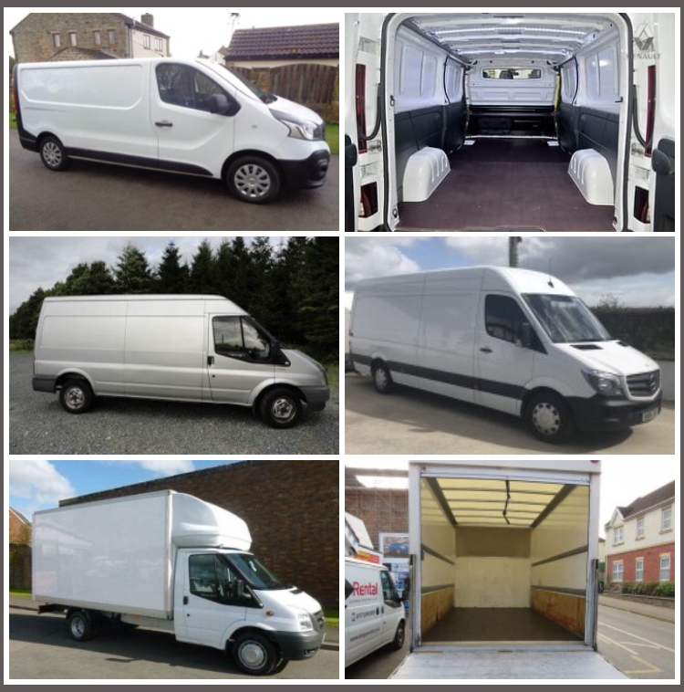 4 Van Sizes and Inside the Small Van and Luton Van - Vans for long-distance moving services from Dublin to Letterkenny